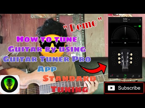 How to tune Guitar by using Guitar Tuner Pro App Standard Tuning ( Demo )