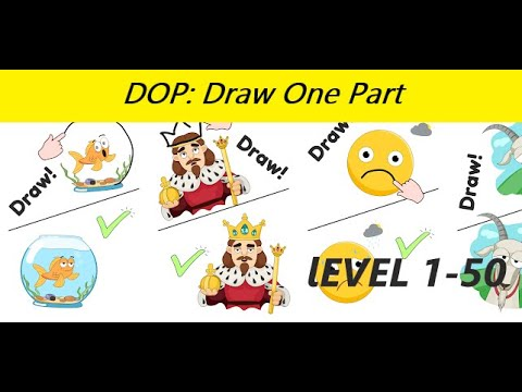 DOP: Draw One Part APK (MOD, Unlimited Hints) - Gameplay level 1-50