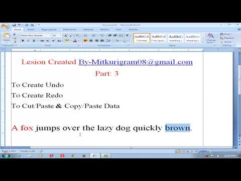 To Create Undo   To Create Redo   To Cut & Paste & Copy &Paste Data   Ms Word   Ms Office