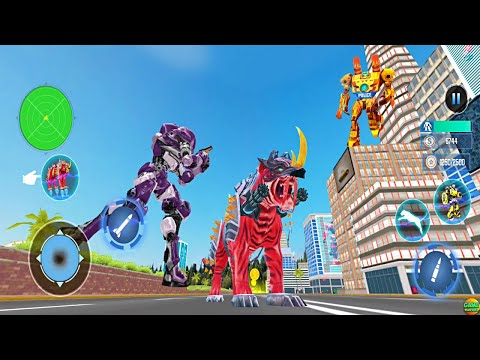 New Giant Tiger Robot Flying  Attack: Flying Bike Robot Game Robot Android