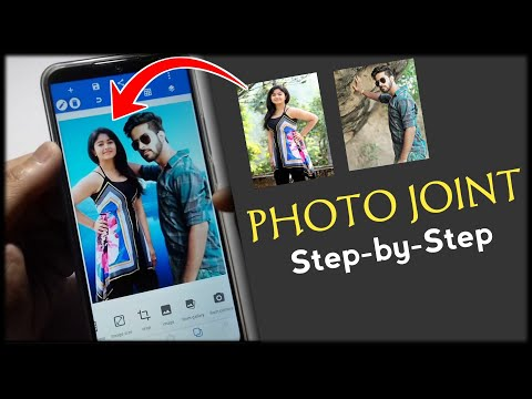 Photo joint app combine multiple photos in one background