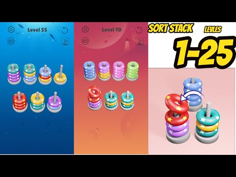 Sort Stack Level 1 - 20 Gameplay Walkthrough   (IOS - Android)