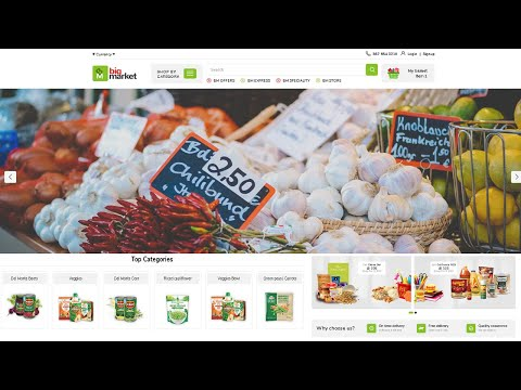 How to Create Grocery Website Like Bigbasket || Mobile Apps || Big Market Template Full Review