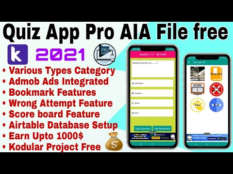 GK Quiz App Pro AIA File free 2021. Professional High quality Quiz App with Airtable for Kodular.