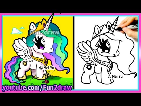 CUTE My Little Pony - Princess Celestia - Drawing for Beginners Easy Cartoon - Fun2draw How to Draw