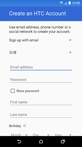 HTC Account—Services Sign-in screenshot 4