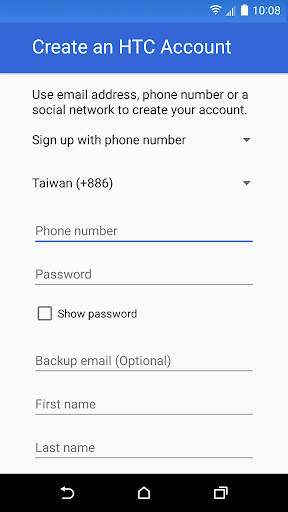 HTC Account—Services Sign-in screenshot 2