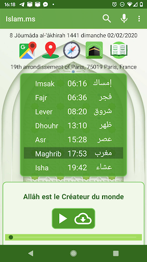 Islam.ms Prayer Times Qibla finder Locator Compass screenshot 1