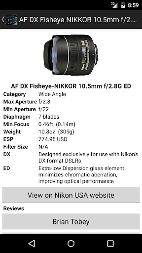 NikonLenses screenshot 2